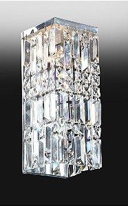 Arandela Retangular de Metal Cromado e Cristal Transparente com acabamento Duplo 33x15x13cm Old Artisan AR-4395