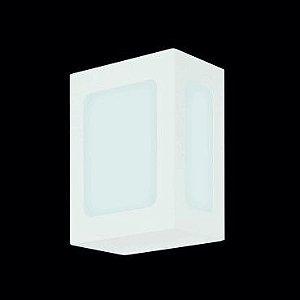 Arandela Retangular Pequena Alumínio  Vidro Fosco 1xE27 LED Bulbo A60 Itamonte Nac 229