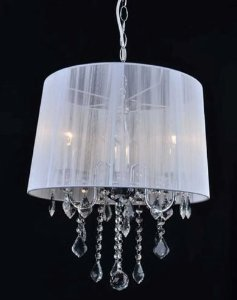 Lustre Judith Cromado + Tecido Branco + Cristal Cód: 4001 3 Lamp.E14 Bivolt 40x50cm Adn+ 4003WH