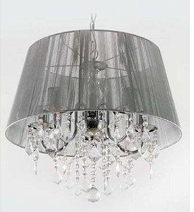 Lustre Judith Prata Lustre Cromado +Tecido Prata + Cristal Cód 4004 Bivolt 3 Lamp.E14 40x50cm Adn+ 4003SL