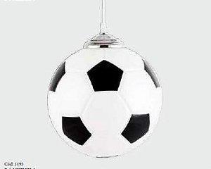 Pendente Bola De Futebol Vidro Fosco ø 24x100cm 1xE27 Bivolt Branco e Preto Adn+ MD71522-1