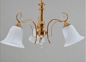 Lustre Ellen Dourado 3 braços com Cupula de Vidro + Cristais -Cód: 1286 Bivolt E 27 60x35cm Adn+ D-39072/3FG