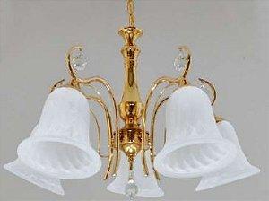Lustre Ellen Dourado 5 Braços com Cupula de Vidro+Cristais - Cód:1289 Bivolt E27 60x35cm Adn+  D-39072/5FG