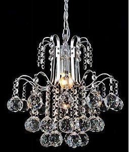 Pendente Berry Metal e Cristal Transparente 27x30cm 1xE27 Bivolt Cromado Adn+ 5801/1P