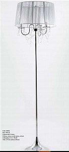 Coluna Leila Prata Cromo +Tecido Prata + Cristais Cód:14004 Bivolt  3Lamp. E-14 45x168cm Adn+ 7003 Sl