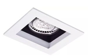 Embutido Orientável Recuado Quadrado em Alumínio Injetado MR16 1XGU10 11x11cm Impacto 1051