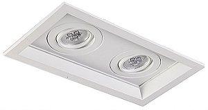 Luminária Embutir Recuado Chanfrado Retangular Duplo PAR30 37,5x21cm Metal Impacto 1043/2