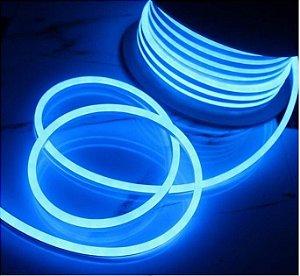 Fita Led Neon Silicone 12v 7.4W IP68 1MT  Cor Azul Claro Alpertone 0148AZC