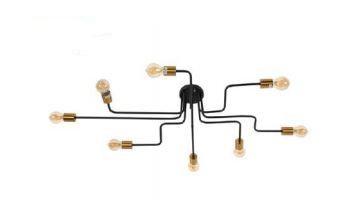 Plafon Metal 120x60x18cm 8xE27 Cor Preto e Dourado Adn+ SA3082/8GD