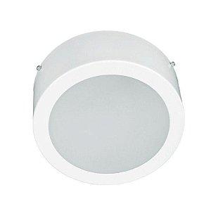 Plafon Sobrepor Redondo em Alumínio Vidro Fosco E27 Ø 250mm H 80mm Branco Itamonte Nac 3020BT