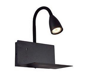 Arandela Haus com Entrada USB Metal 23x20x29cm 1xGU10 LED 20W  127V/220V Cor Preta Casual Light AR1445PT