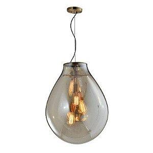 Pendente Caju Metal e Vidro 48x63cm 3xE27 40W Cor Bronze e Conhaque Bella Iluminação RZ001EL