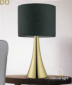Abajur Turret Estrutura em Metal e Cúpula de Tecido 20x36,5cm 1xE27 40W 127V/220V Cor Dourado Casual Light QAB1068-DO