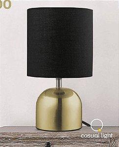 Abajur Turin Metal e Tecido 16x29cm 1xE27 127V / 220V  Cor Dourado Casual Light QAB1066-DO
