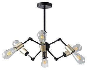 Pendente Torch Metal Ø44x17,5cm 6xE27 40W Bivolt Cor Dourado e Preto Casual Light QPD1368DO