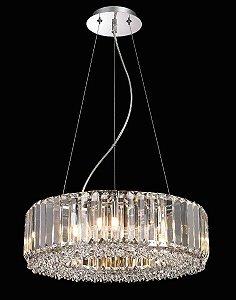 Pendente Aço e Cristal Translúcido 45x15cm 8xG9 40W Cor Cromado Mais Luz PE-035/8.45CL