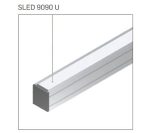 Pendente/Perfil Minimalista Sistema de Iluminação Linear P10 12 Vdc 7,2W/M 1MT Misterled SLED9090 P10 U
