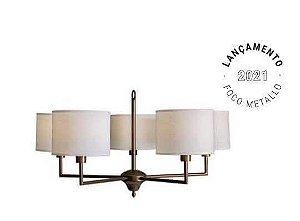 Lustre Vicenza Metal e Tecido 80x42cm 5xE27 Cor Ouro Novo Foco Metallo LU 423