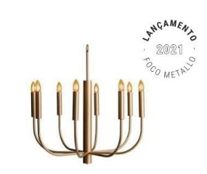 Lustre Amália Metal 70x70cm 8xE14 Vela Led Cor Gold Foco Metallo LU 428