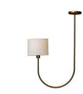 Pendente Vicenza Metal e Tecido 20x49x69cm 1xE27 Bulbo Led Cor Ouro Novo Foco Metallo PE 513