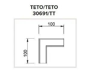 Junção Teto/Teto Sistema de Sobrepor Linear Polo 100x100mm Usina 30691/TT