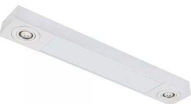 Plafon Sobrepor Mix Retangular  2 Tubular T8 + 2 AR111 157x17cm Metal e Acrílico Impacto MD1140-P