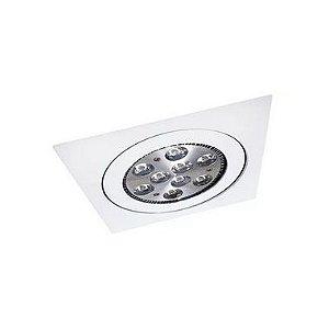 Embutido Face Plana Orientável Quadrado Alumínio PAR20 10x10x4cm Acabamento Branco Impacto 2023