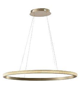 Pendente Anello Oval Alumínio e Acrílico Ø80x03cm LED 28W 1400lm 3000K Cor Dourado Studioluce PD1443