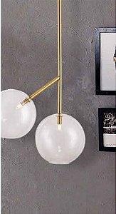 Luminária Bell 150cmx50,5cm Vidro 25cm Metal Ouro Velho Globo Transparente Skylight SKY-3047-OV