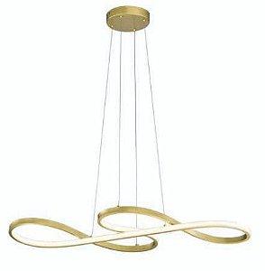Luminária Strip LED Integrado 3000K 36W  80x35cm 02 Metros De Cabo Dourada Skylight SKY-3016-DO