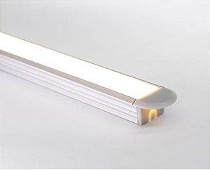 Perfil Embutir de Alumínio Standard Difusor Leitoso Barra 250cm Cor Branco Revoled AP0501W