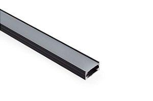 Perfil Sobrepor de Alumínio Slim Difusor Leitoso Barra 250cm Cor Preto Revoled AP0201B