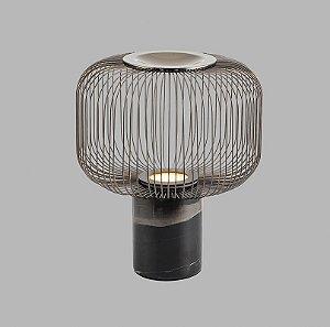 Luminária de Mesa Pietre em Metal 300x335mm 1xGU10 Cor Preto Fosco e Base em Mármore Preto Flavo FT1280PF