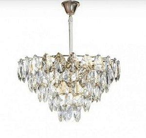 Pendente Foglia Metal e Cristal  60x38cm 16xE14 40w 127v / 220v Sand Gold Bella Iluminação OC003