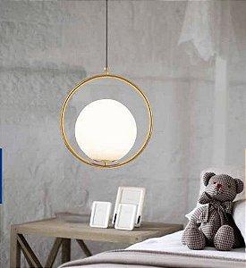 Pendente Balance 34cm Globo 20cm 1xE27 25W Dourado e Vidro Leitoso Skylight SKY-3000