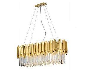 Pendente Fancy Retangular 90cm 6xG9 25W Dourado e Cristais K9 Transparentes Skylight SKY-3013-1