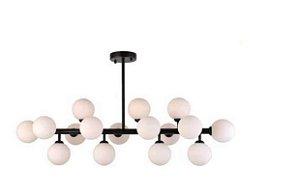 Pentente Cotton Metal E Vidro Leitoso 100x95cm 16xG9 25W Bivolt Cor Preto Skylight SKY-3027-PTLT