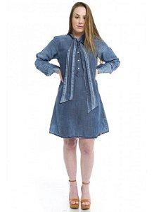 Vestido Jeans Ecológico com laço