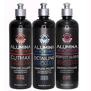 kit Polidores Alumina 500ml - 1200 2500 e 3500 - Lançamento