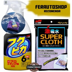 Kit Limpeza a Seco Com Cera Fukupiká Strong 400ml + Toalha Super Cloth 30x50cm - Soft99