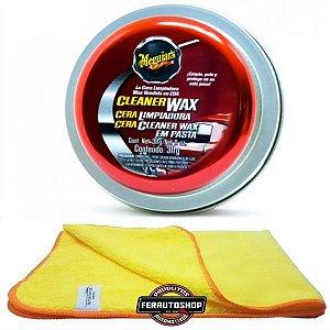 Kit Cera Cleaner Paste Wax 311g Meguiars + Pano Microfibra 40x60