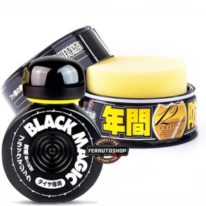 Kit Cera Fusso Coat Black Wax 200g + Pretinho para Pneus Black Magic 150ml - Soft99