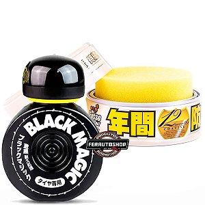 Kit Cera Fusso Light Color Wax 200g + Pretinho para Pneus Black Magic 150ml - Soft99