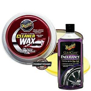 Kit Cera Cleaner Paste Wax 311g + Endurance Tire Dressing gel 473ml - Meguiars