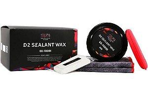 Cera D2 Carnaúba Wax 6 Meses Coat Brilho Molhado e Repelência 80gr + Pano Sgcb + Claybar + Aplicador Ultra Macio