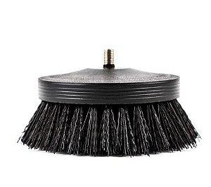 Escova para Higienização para Pneus Tapetes Carpetes Agressiva Preta + Adaptador para Politriz - SGCB