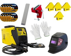 Kit Inversora Solda 220V  +5k Eletrodo + 30 Discos + Máscara