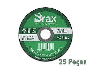 Disco De Corte Fino Inox 4.1/2 X 1,0 Aço / Inox 25 Peças
