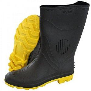 Bota de PVC preta e amarela, cano médio, sem forro Vonder