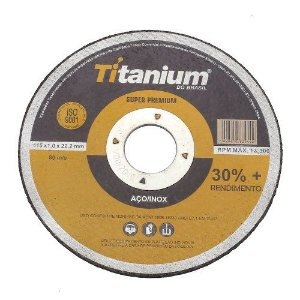 Disco De Corte Fino Aço Inox 115x1x22,2mm Titanium